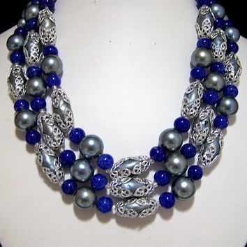 Faux Lapis Glass Bead Necklace, Multi Strand Bead Necklace, Mid Century Beaded Necklace, Silver Faux Pearl Beads Necklace 717