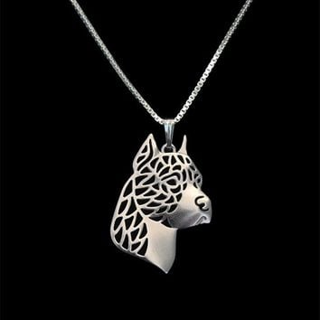 Romantic Gold Silver Color American Staffordshire Terrier Head Pendant Necklace Hunger Games Necklace Women Best Friend Choker