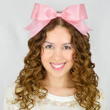 Pink Headband Bow Satin Ribbon Headband cheer bow cheer headband Oversize hair bow huge hair bow statement headband gothic lolita bow