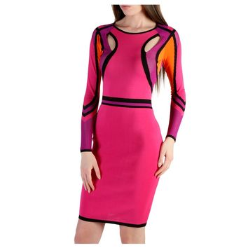 Pink Round Neck Long Sleeve Mini Dress