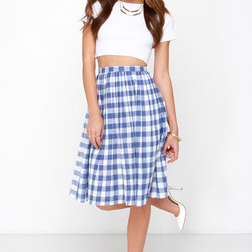 First Picnic Ivory and Blue Gingham Midi Skirt