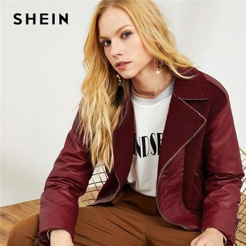 Trendy SHEIN Burgundy Elegant Workwear Notch Collar Faux Fur Embellished Solid Zipper Up Jacket 2018 Autumn Highstreet Coat Outerwear AT_94_13