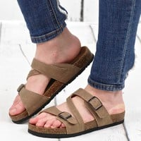Bork Strappy Classic Slide On Sandals {Taupe}