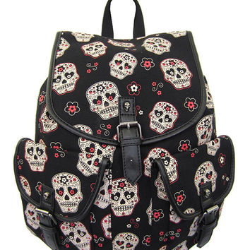 Day of the Dead Muertos Flower Sugar Skull Canvas Backpack