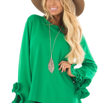 Kelly Green Ruffle Sleeve Sweater