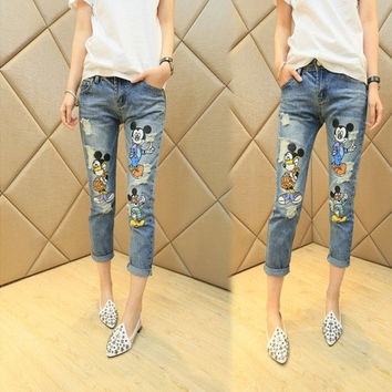 NEW Casual Cartoon Mouse Jeans Cute Ripped Denim Jeans Woman Skinny Women's Jeans Girls Pants Free Shipping