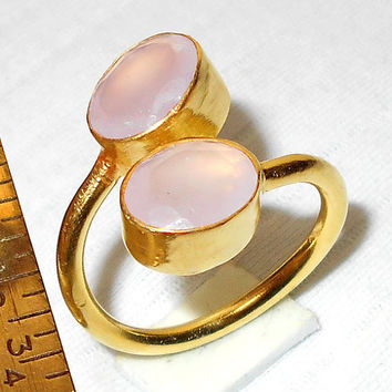 Rose Quartz Ring, One Of a Kind Ring, Pink Quartz Jewelry, Handcrafted Ring, Gemstone Ring, Gold Vermeil Ring, Faceted Stone Ring, Gift Ring
