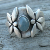 Achelois Sterling Silver Warrior Goddess Ring Natural Blue Sapphire Size 6.5