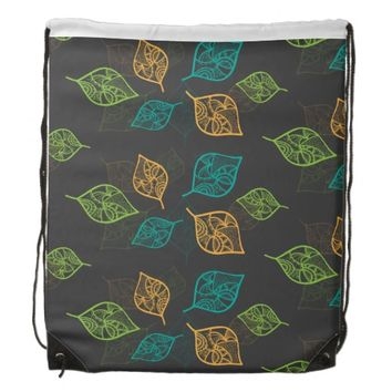 Graceful Leaves Pattern Drawstring Bag