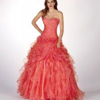 Ball Gown Sweetheart Watermelon Ruffled Beading Organza Floor-length Dress at Dresseshop