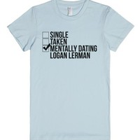 Mentally Dating Logan Lerman-Female Light Blue T-Shirt