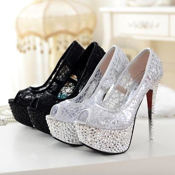 Stylish Design Summer Shoes High Heel Waterproof Sandals [11203295175]