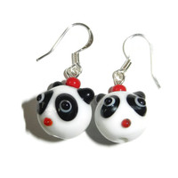 Panda Bear Lampwork Glass Dangle Earrings