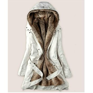 The jacket is long, faux fur lining women's fur coats winter hoodies ladies warm coat cotton clothing Thermal Parks WWM05 ...
