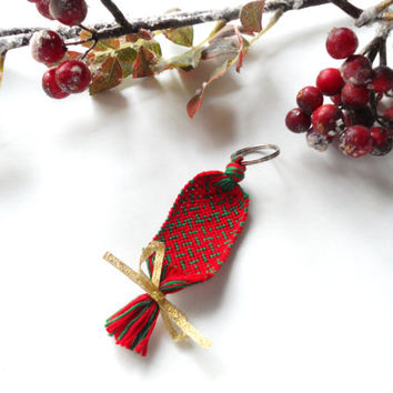 Handmade Holiday Keychain - Red and Green