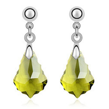 Imported Austrian Crystal Earrings - Baroque leaf export to Europe and America jewelry factory strength    DARK OLIVE