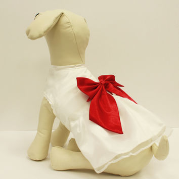 White Red Dog Dress, Dog Birthday gift, Pet wedding accessory