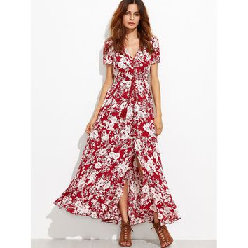 V-neckline Calico Print Tassel Tie Dress
