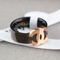 Double C Black Rose Gold Titanium Steel Double C Rings