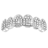 Lab Diamond Top Grillz 14K White Gold Finish Mens Hip Hop