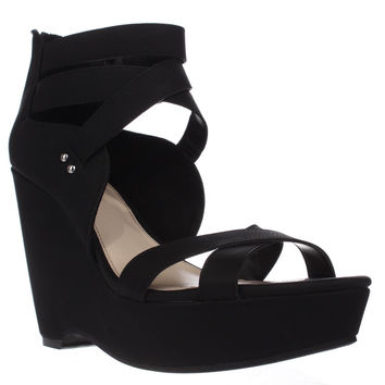 B35 Samara Strappy Wedge Sandals, Black, 6.5 US