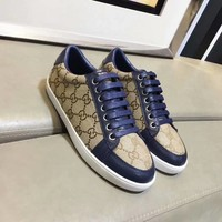 Gucci Women Genuine Leather Classic Double G Blue Fashion Canvas Sports Sneakers Shoes