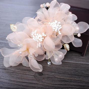 wedding party romantic white pink voile silk flower hair pin with beads bride handmade  hair jewelry bridal hair accessories