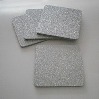 "SILVER Glitter Coasters - Large Square Drink Coasters in Sparkling Fine Silver Glitter- set of four - 4"" x 4"""