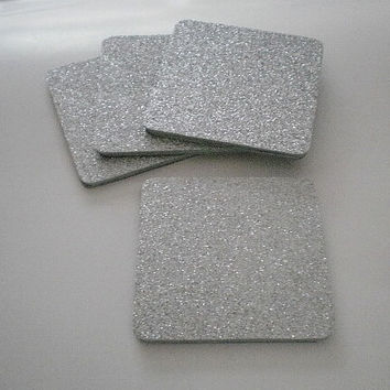 """SILVER Glitter Coasters - Large Square Drink Coasters in Sparkling Fine Silver Glitter- set of four - 4"""" x 4"""""""
