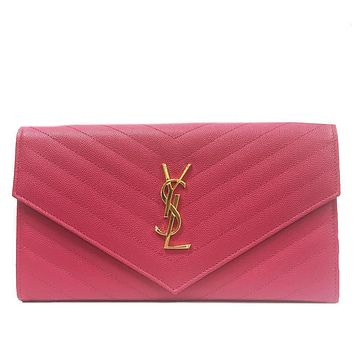 Saint Laurent YSL Women's Matelassé Pink Document Holder Wallet Clutch 358087