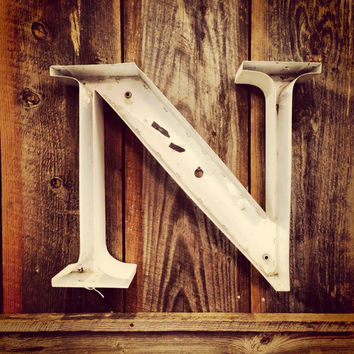 "Vintage Marquee Letter ""N"" -- Industrial Channel Letter"