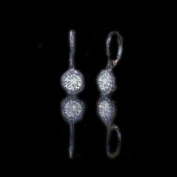 3CT TW round simulated diamond - Diamond Veneer lever back earrings