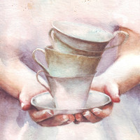 HM107 Original painting watercolor art Woman with tea by Helga McLeod