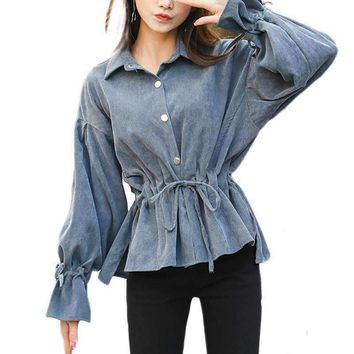 Corduroy Flare Sleeve Women Shirts Solid Color Sleeve Tops