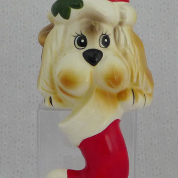 Dog Stocking Hanger, Christmas Stocking Holder, Dog Shelf Sitter, Holiday Decor, Porcelain Santa Dog
