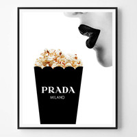 Prada print, Fashion Print, Prada popcorn, Lips, Woman, Girl, Fashion, Modern print, Typography Wall Art Print, Minimalist, Scandinavian