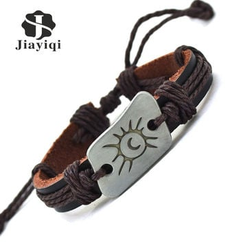 Jiayiqi Handmade Braid Vintage Genuine Leather Bracelet for Woman Femme Bracelet Men Moon & Sun Charm Bracelets Bangles Jewelry
