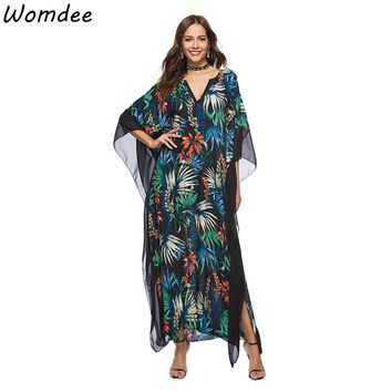 Ladies' Print Beach Sundress Sexy V-neck Bohemian Long Dress African Ethnic Summer Loose Vintage Kaftan Maxi Dresses
