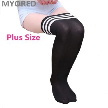 MYORED sexy solid stripe body stockings plus size over the knee thigh high plain color long big SOX women female dancing