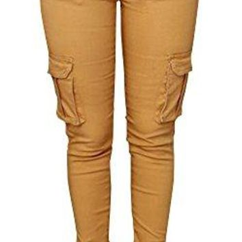 Pxmoda Womens Casual Stretch Drawstring Skinny Pants Cargo Jogger Pants (S, Yellow)
