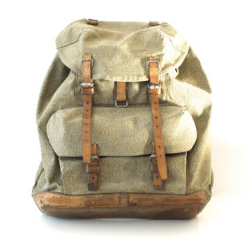 SWISS ARMY BACKPACK from 1958, Vintage Military Leather and Canvas Bag, 'Salt & Pepper' Fabric, Large Rugged Men's Rucksack from Switzerland