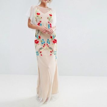 Hope & Ivy Embroidered Sheer Maxi Dress With Fishtail And Flutter Sleeve at asos.com