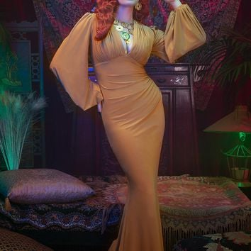Laura Byrnes California Gia Gown in Mustard Gold