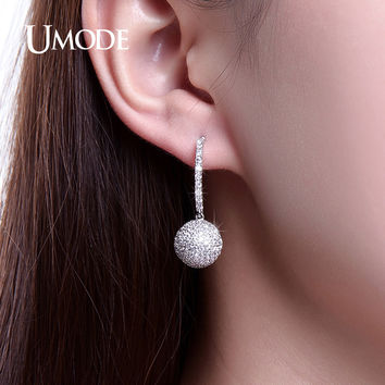 UMODE Unique Hollow Out Half Ball Drop Earrings Paved Radian Earring For Women Gift Dangle Earring Indian Jewelry Women UE0249