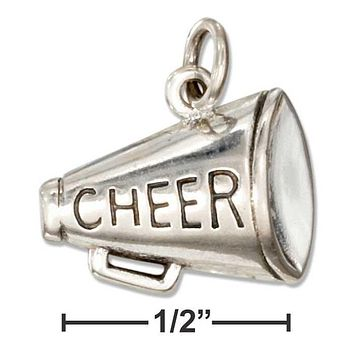 "Sterling Silver Charm:  Megaphone Charm With ""cheer"" Message"