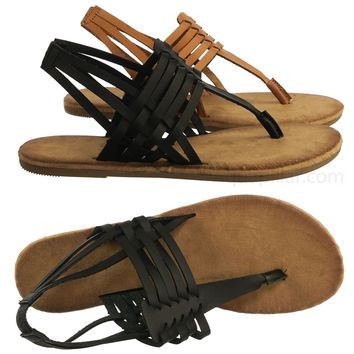 Barton07 Vintage Woven Flat Sandal - Wovent Strappy Fisherman Summer Shoes
