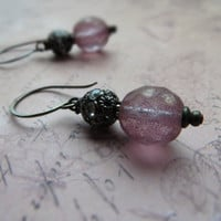 Romantic vintage look earrings / Czech glass, purple matte bead, rhinestone filigree bead