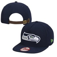 New Era Seattle Seahawks Classic Team Strapback Hat - College Navy