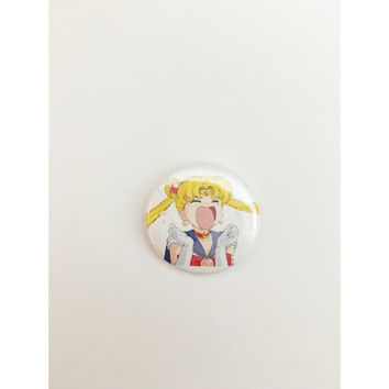 "1"" Crying Sailor Moon pin back button"