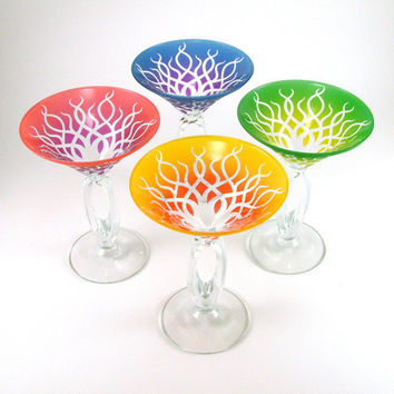 Omega Martini Glasses  Strands  Assorted Color Set by woodeyeglass